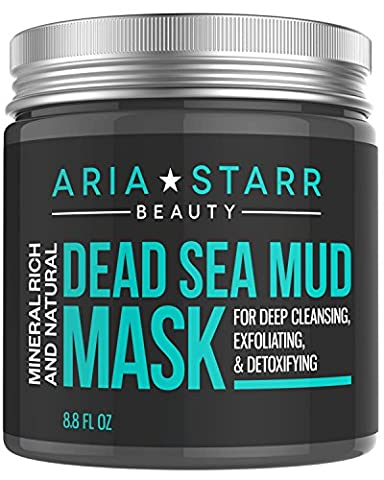 Aria Starr Dead Sea Mud Mask For Face, Acne, Oily Skin & Blackheads - Best Facial Pore Minimizer, Reducer & Pores Cleanser Treatment - Natural For Younger Looking Skin - 8.8