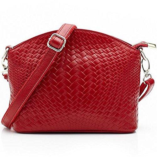 MeiliYH Borsa in Pelle Modello di Tessuto Moda Borsa Ladies Spalla Messenger rosso_vino