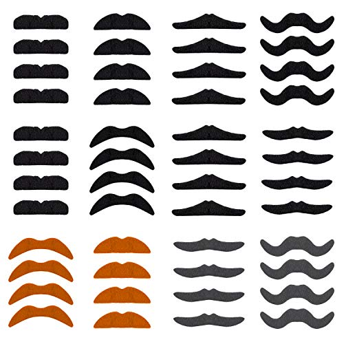 Familie Einzigartige Ideen Kostüm Für - XCOZU Selbstklebende Schnurrbart, 48Pcs Neuheit Verkleiden Klebebärte Gefälschte Schnurrbärte zum Aufkleben für Party Dekorationen, Maskerade und Kostüme