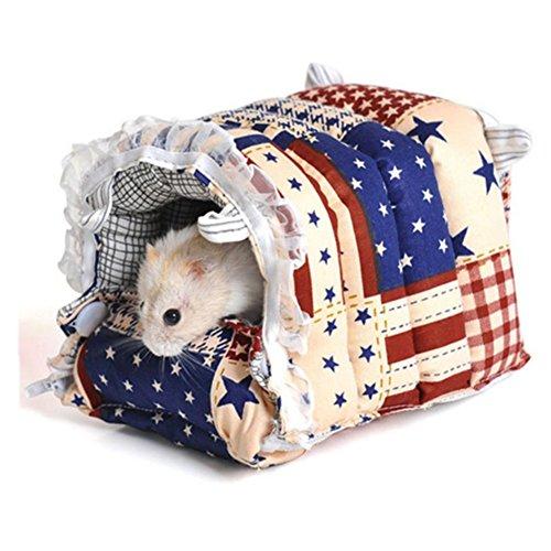 Petite maison pour animaux Hamster lit Nid Fermeture Éclair Coton Détachable Hiver au chaud