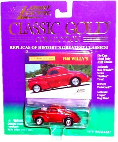 Gold Small Rim (1999 - Playing Mantis / Johnny Lightning - Classic Gold Collection - 1940 Willy's - Red - 1:64 Scale Die Cast - Bonus Photo Card - Cragar Rims - RARE - Out of Production - MOC - Limited Edition - Collectible by Johnny Lightning)