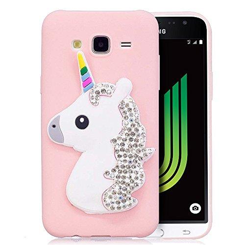 RosyHeart Custodia Samsung J3 2016, Modello 3D Unicorno Glitter Candy Silicone TPU Morbido Cover Antiurto AntiGraffio Bumper Case per Samsung Galaxy J3 2016 J310 - Rosa