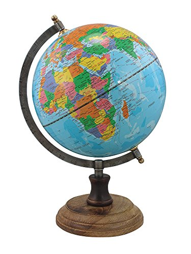 Nautic Spezial MV Globus Erdkugel Weltkarte auf Holzfuss im Retro-Look hellblau englische Beschriftung H 32 cm Ø Kugel 20 cm