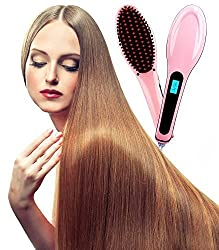 The dealz Hair Straightener Brush Electric Straightening Comb Ceramic Heat Straightner Pink