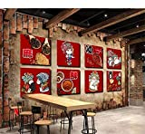 Wiwhy Carta Da Parati Personalizzata 3D Murale Parole Retrò Speziato Profumato Fresco Sichuan Sala Da Pranzo Sfondo Muro Soggiorno Carta Da Parati Murale-350X250Cm