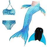 Das beste Mädchen Bikini Badeanzüge Schönere Meerjungfrauenschwanz Zum Schwimmen mit Meerjungfrau Flosse Schwimmen Kostüm Schwanzflosse - Ein Mädchentraum- Gr. 130, Farbe: A06