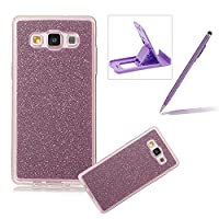 For Samsung Galaxy E5 Cover,For Samsung Galaxy E5 Rubber Case,Herzzer Super Slim [Purple Gradient Color Changing] Dust Resistant Soft Flexible TPU Bling Glitter Protective Case for Samsung Galaxy E5 + 1 x Free Purple Cellphone Kickstand + 1 x Free Purple