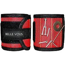 Set Coppia Polsini Magnetici da Belle Vous – Magneti N35 possono Reggere Strumenti Pesanti come Cacciaviti, Prese, Viti, Dadi e Chiodi – Il Migliore Portastrumenti e Organizer per il tuo Lavoro