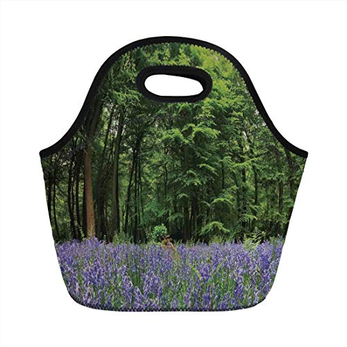 Portable Bento Lunch Bag,Woodland Decor,A Sea of Bluebells Flowers in Forest Springtime April Countryside Seasonal Picture,Purple Green,for Kids Adult Thermal Insulated Tote Bags