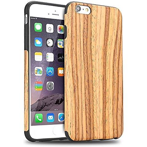 Funda iPhone 6S, Tendlin Carcasa Madera Natural de Flexible TPU Silicona Híbrida Funda para iPhone 6 y iPhone 6s (Madera de