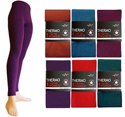 6er Pack Palleon Damen Thermo Leggings mit Innenfleece Mehrfarbig