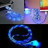 Câble USB Ownstyle4you - LED Micro pour presque tous les smartphones DATA CABLE CHARGEUR cordon d'alimentation en Bleue