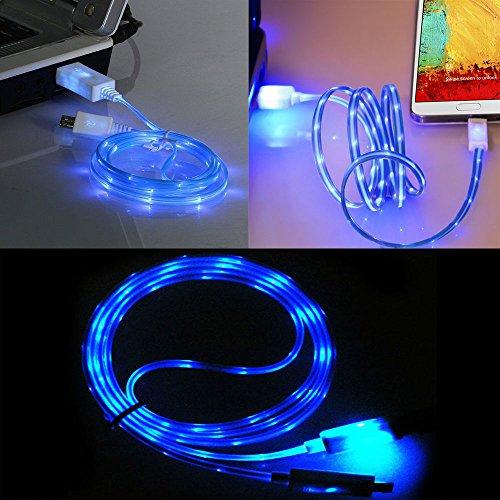 Ownstyle4you LED Micro USB Kabel für das LG L Bello KABEL LADEKABEL Stromkabel in leuchtend Blau