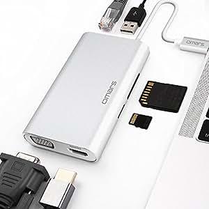 Omars USB C Hub, Hub USB,C vers USB 3.0, HDMI 4K, VGA 1080P, RJ45 Gigabit