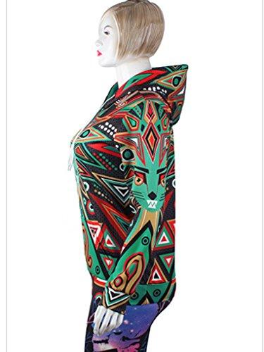 Belsen Damen Kapuzenpullover mehrfarbig schokoladenbraun Large Löwe