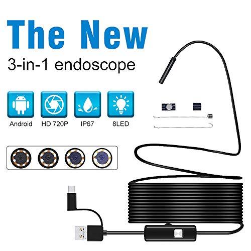 Oral Gebogene Rohre (DYWLQ USB-Inspektionskamera,3 in 1 halbstarres drahtloses Endoskop, 0,3 Megapixel HD-Endoskop, IP67 wasserdichte Rohrschlangenkamera mit 6 LED-Leuchten für iOS A)