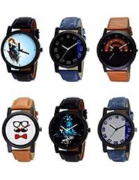 NIKOLA Latest 3D Design Mahadev Beard Style Black Blue And Brown Color 6 Watch Combo (B22-B37-B46-B53-B23-B40)...