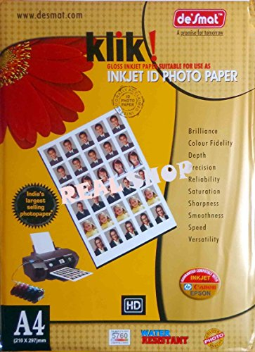 Desmat Glossy Photo Paper For Inkjet Printers A4 Size, 20 Sheets, 180gsm