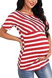 Giorzio Damen Umstandsshirt O-Ausschnitt Still-Shirt Kurzarm Umstands-Top Lagendesign Umstandsmode für Schwangere (Rot,S)