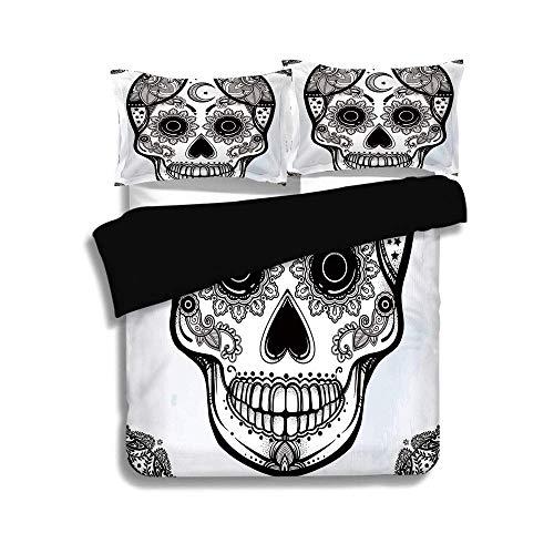 Schwarzer Bettbezug Set, Sugar Skull Dekor, Vintage-Stil Hispanic Folk Spiritual Art Allerheiligen Urlaub Maskottchen, schwarz und weiß, dekorative 3-teilige Bettwäsche Set von 2 Pillow Shams, QUEEN / -