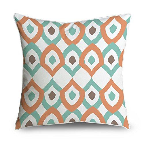 Fabricmcc mid-century Modern Diamonds arancione e bianco Square Accent decorative throw Pillow case cuscino 18x 18
