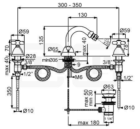 DIBL stil Zweigriff-Bidet-3-Loch- Batterie mit Ablaufgarnitur