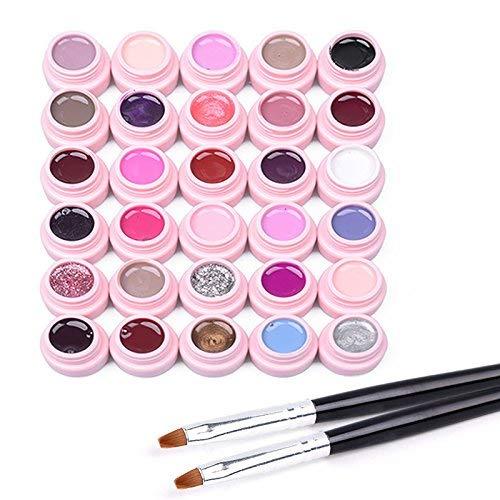 Frenshion Smalto Semipermanente Gel Nail Polish UV LED Ricostruzione Unghie Arte Set di 30 colori (5g/pc)+ 2pc spazzola