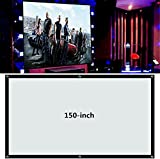 Projector Screen, Portable Movie Screen 60/72/100/120/150 Inch 16:9/4:3 Home Cinema Projection Screen Projector Accessories for Indoor Outdoor (150-inch, 4:3)