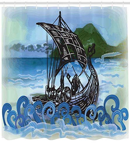 Curtain, Drekar Boat Vikings Ship Bearded Warrior with Axe Swirled Sea Waves Artwork, Cloth Fabric Bathroom Decor Set with Hooks, 66x72 inches, Blue Black Green ()