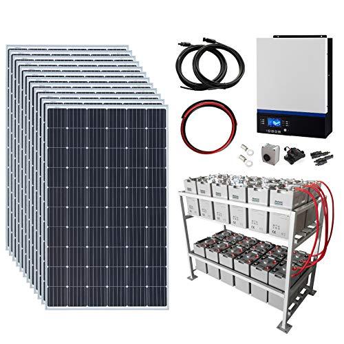 Sistema di alimentazione solare off-grid completo da 3,6 kW 48 V con 12 pannelli solari da 300 W, inverter ibrido da 5 kW e batteria esterna da 24 kWh.