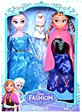 #9: Frozen Princess Sisters Anna & Elsa with Their Adorable Snowman Friend Olaf Doll Set by Wishkey