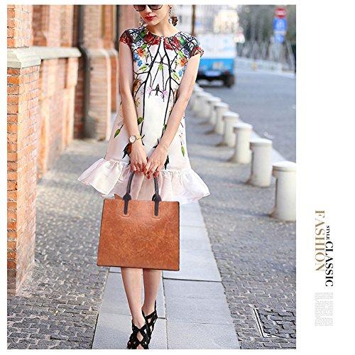 Sacchetti Yoome Retro per le donne grande capienza Tote Handle Bag Borsa Portafoglio Makeup - Grigio Nero