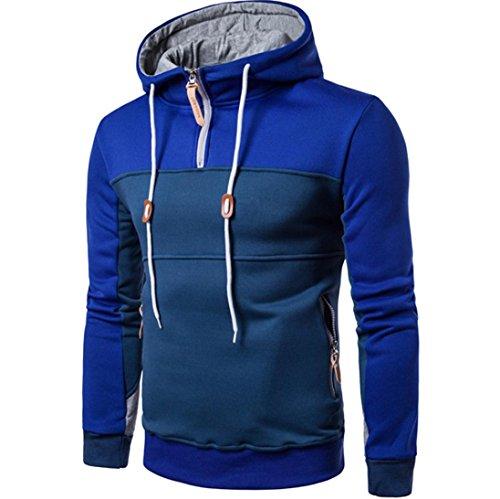 TWBB Bekleidung Herren Mantel, Mode Patchwork Langarm Herren Pullover Schlank Reißverschluss Mantel Stehkragen Pullover Outwear (L, Blau)