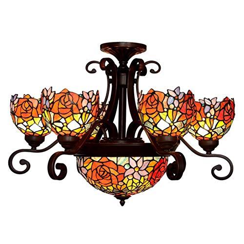 Tiffany Style Kronleuchter, Eiserne Basis Glasschatten Breite 76Cm Höhe  52Cm (Ohne Kettenlänge) Flur, Schlafzimmer, Wohnzimmer Decke Pendellicht,  ...