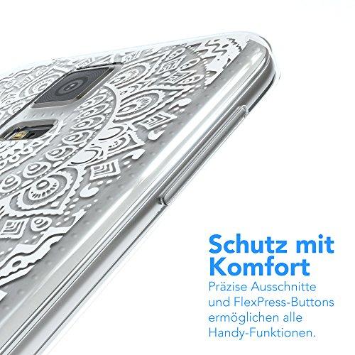 Samsung Galaxy S5 / S5 Neo Hülle - EAZY CASE Handyhülle - Ultra Slim Glitzer Schutzhülle aus Silikon in Pink Henna Weiß