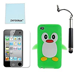 Zafoorah® Green Penguin Design Gel Case For Apple Ipod Touch 4th Generation + Free Stylus + Screen Protector + Cloth