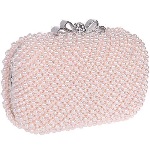 Santimon Clutch Delle Donne Perla Bling Bowknot Borsellini Borse Da Festa di Nozze Sera Da Matrimonio Con Tracolla Amovibile 3 Colori rosa