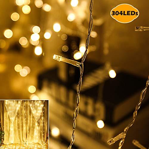 LED Lichtervorhang,VIFLYKOO 3m*3m 304 Led Lichterkette strombetriebe Innen Lichterkette IP44 wasserdicht, Sternenlicht, Weihnachtsbeleuchtung für Parteien, Garten,Terrasse,Halloween oder Dekoration