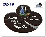Keramikschild / Namensschild / Türschild in Keramik mit Motiv Katze, 26x19 cm inklusive Wunschgravur, auch als Klingelschild lieferbar