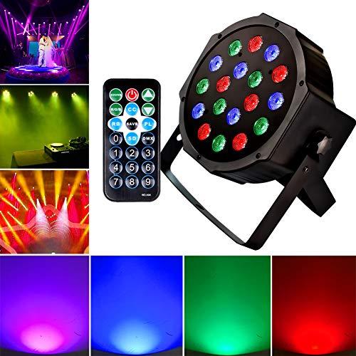 1KOOT RGB 18LEDS Par Disco Licht Bühnenbeleuchtung DJ Licht mit Tonaktiviertem DMX und Remote-Blitzleuchten Fernbedienung Beste für Halloween Club Kinder Geburtstag Party Discokugel