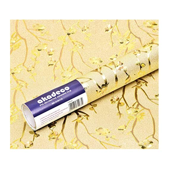 akadeco self Adhesive Decorative multipupose Shined Golden Floral Collection PVC Wallpaper (1 roll Size - 330X45cm)