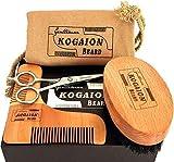 Kit Cuidado Barba| Regalo para Hombres con barba | Cepillo Barba + Peine Barba + Tijeras Barba + Bolsa de viaje + Caja de regalo | Regalos únicos de aniversario | Presente perfecto por KOGAION UK