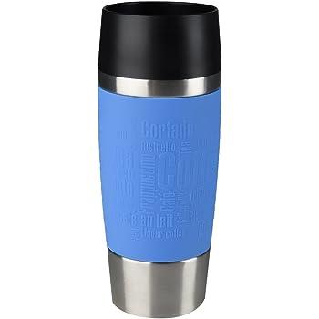 Emsa Isolierbecher Mobil genießen 360 ml Quick Press Verschluss Travel Mug -Blau (Manschette Wasserblau)