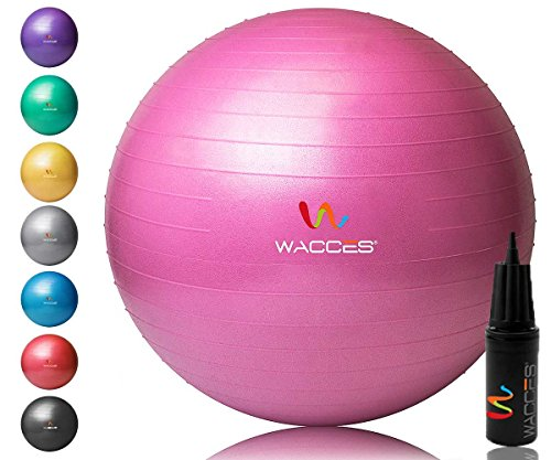 Wacces 52M3Yoga Ball mit Hand Pumpe Pink, 65cm (Stuhl Ausrüstung Workout)