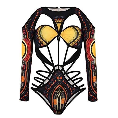zooarts® 2017schwarz sexy Frauen Long Sleeve African Style Print String Cut Out Monokinis Bademode Bandage String One Piece Badeanzug F045, schwarz, M (Monokini Zurück)
