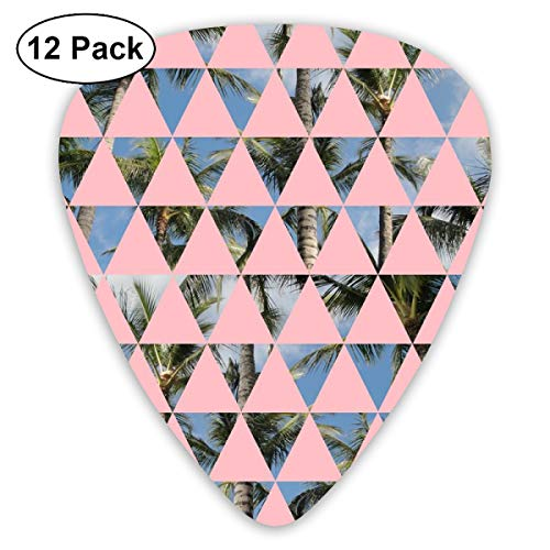 Vince Triangles Palm Trees Tropical Photo Photograph Geometric Palms Pastel Pink Hawaii_1787 Classic Celluloid Picks, 12-Pack, For Electric Guitar, Acoustic Guitar, Mandolin, And Bass