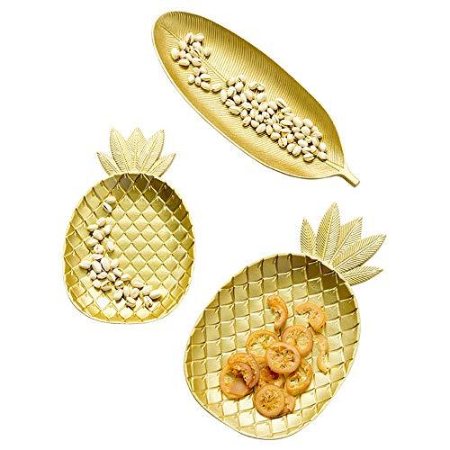 Acai 3 Stück Set Süßigkeiten-Platte Vergoldeten Snack-Tablett Wohnzimmer-Set Couchtisch...