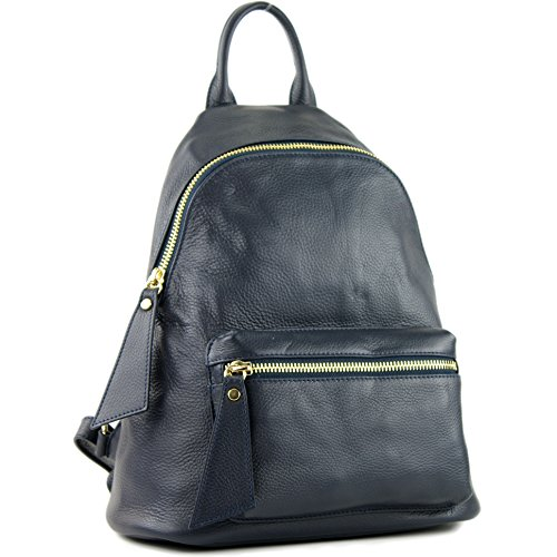 modamoda de - ital Damen Rucksacktasche aus Leder T171A, Präzise Farbe:Dunkelblau