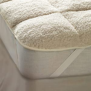 """Sherpa"" DEEP PILE Double Size, Teddy Bear Fleecy Mattress Topper Protector Under Blanket Winter Warm"