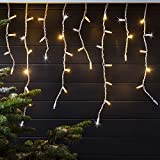 500er LED Eiszapfen Lichterkette warmweiß mit Blinkeffekt 10m koppelbar PRO Serie Lights4fun